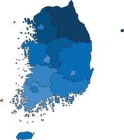 Blue outline South Korea map on white background. Vector illustration.