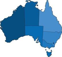 Blue outline Australia map on white background. Vector illustration.