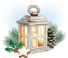 Watercolor christmas lantern with candles, pinecone and holly vector