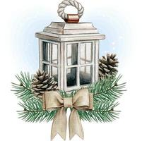 Watercolor shabby chic wooden lantern with pinecones and jute bow vector