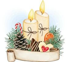 Watercolor christmas candle decoration, pinecone and winter food vector
