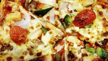Delicious vegetable pizza italian food with macro backgrounds photo