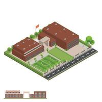 Isometric and 3D of modern office, school and university building. vector