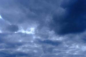 dramatic high deep blue sky with fluffy clouds photo