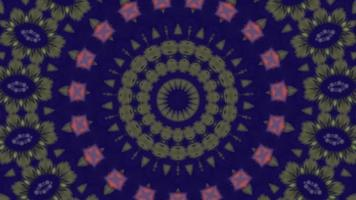 Solid Blue with Floral Olive Details Kaleidoscope Background video