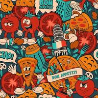 a seamless pattern for a pizza theme vector