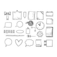 Bullet journal. Hand drawn frames borders and dividers notes templates vector