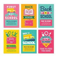 Cards with schools symbols. Back to school cards template vector