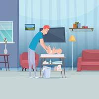 Happy parents care to their baby change diapers vector