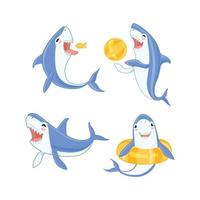 Cartoon shark swimming. Ocean big teeth blue fish smiling and angry vector