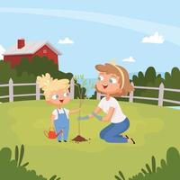 Kids with parents planting tree eco environment background vector