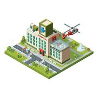 Ambulance building Emergency helicopter on hospital roof helipad vector