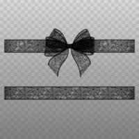 halloween bow and ribbon with spiderweb lace vector