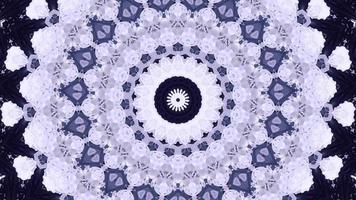 Pale Mauve Snowflake Over Pewter Black Kaleidoscope Background video