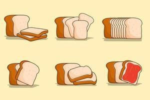 White bread set illustration vector bundle sliced bread for food
