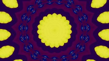 Lemon Yellow Accents with Purple Kaleidoscope Background video