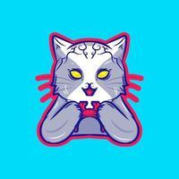 Cat holding game stick illustration vector