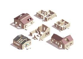 casas rotas isométricas ciudad objetos en ruinas vector