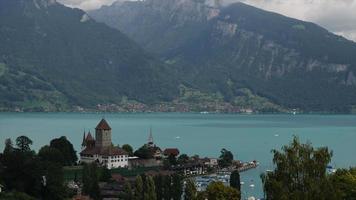 timelapse Spiez Castle with Thun Lake in Switzerland video
