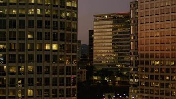 City buildings at night in downtown Los Angeles video