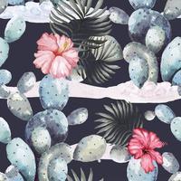seamless pattern cactus watercolors 1 vector
