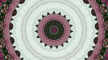 White - Green with A Floral Pattern of Pink and Green Kaleidoscope Background video