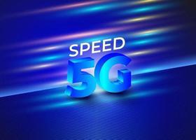 5G Speed Technology Background Blue vector