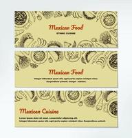 Set of and drawn Mexican food horizontal banners. vector