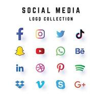 social media logo set collection vector