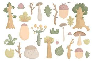 Big forest plants clipart. woodland trees, herbs, mushrooms, branches vector