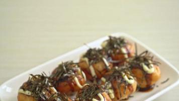 Takoyaki balls dumpling or octopus balls in Japanese style video