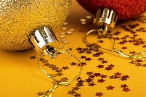 New year toys red and gold color, Christmas mood photo