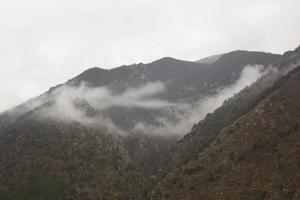 paisaje neblinoso en los cárpatos rumanos foto
