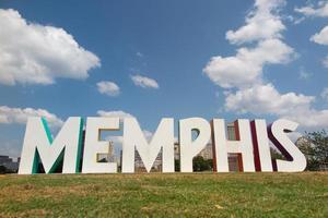 Signo de Memphis en mud Island, Memphis, Tennessee foto