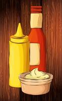 set of delicious sauces in wooden background vector
