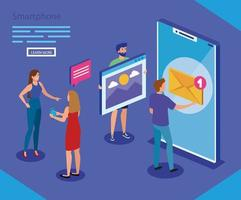 Isometric smartphone and people vector design