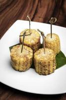 Sweet corn on the cob vegetarian tapas snack food photo