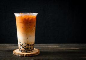 Thai milk tea with bubble photo