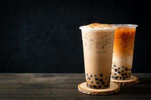 Taiwan milk tea and Thai milk tea with bubbles photo