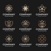 Flower Lineart Logo Element Set vector