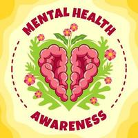 Heart Shaped Brain as Mental Health Awareness Concept vector