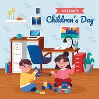 Brother and Sister Play Together Near Work Desk vector