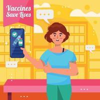 Girl Show Her Vaccination Certificate in Her Smartphone vector