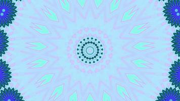 Light Pink and Teal Accents with Blue Flowers Kaleidoscope Background video