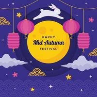 Happy Mid Autumn Festival Background vector
