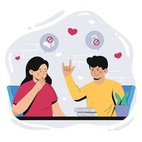linda pareja comunicándose usando lenguaje de señas vector