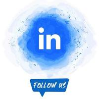 Watercolor Follow US Linkedin Banner vector