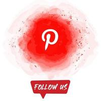 Watercolor Follow US Pinterest Banner vector