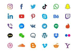 Big Set of Popular Social Media and Website Icons Collection vector