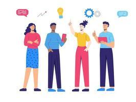 Teamwork, creativity, brainstorm, people think vector